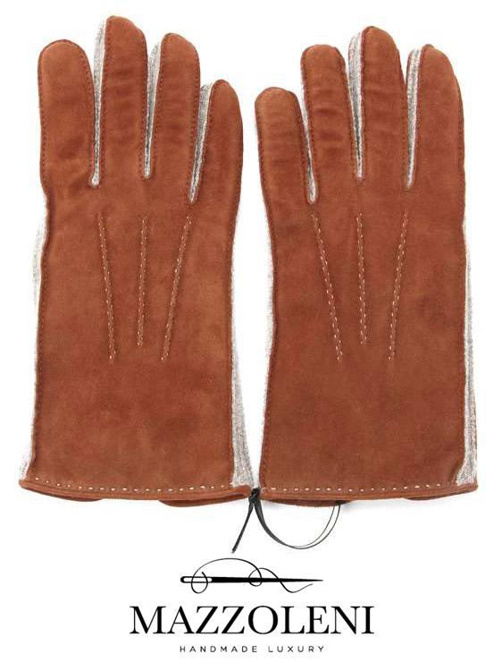 【国内正規品】 MAZZOLENI マッツォレーニ スエードグローブ ライトブラウン 387 手袋 羊革 カシミア