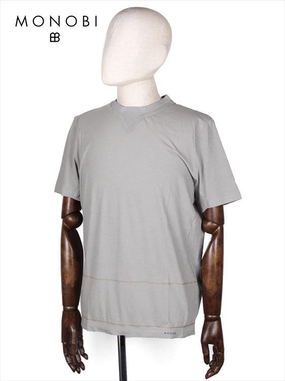 【50%OFFセール】【国内正規品】MONOBI モノビ スリットネック 半袖カットソー グレー MMB18S8003 リブネック Tシャツ ラインボーダー