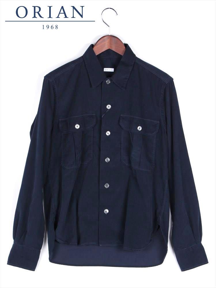 【国内正規品】 ORIAN オリアン フラップポケット コーデュロイシャツ ネイビー YARMY-172