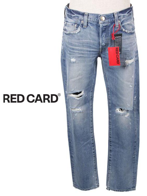 【国内正規品】RED CARD レッドカード RHYTHM KITA DAMAGE LIGHT ダメージ加工 ストレートデニムパンツ ウォッシュド加工 ジーパン ジーンズ ジップフライ Rhythm 17861-KDL ライトインディゴブルー