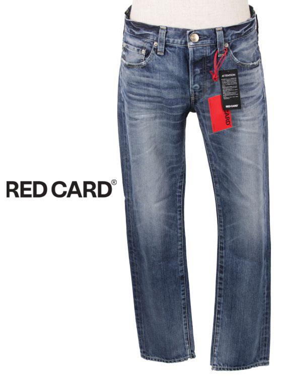 【国内正規品】RED CARD レッドカード RHYTHM KITA VINTAGE-MID ウォッシュド加工 ストレートデニムパンツ ユーズド加工 ジーパン ジーンズ ボタンフライ 17861-kvm インディゴブルー