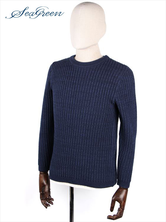 【国内正規品】 Seagreen シーグリーン COMO ワッフルニット セーター クルーネック ネイビー MSG18S9010