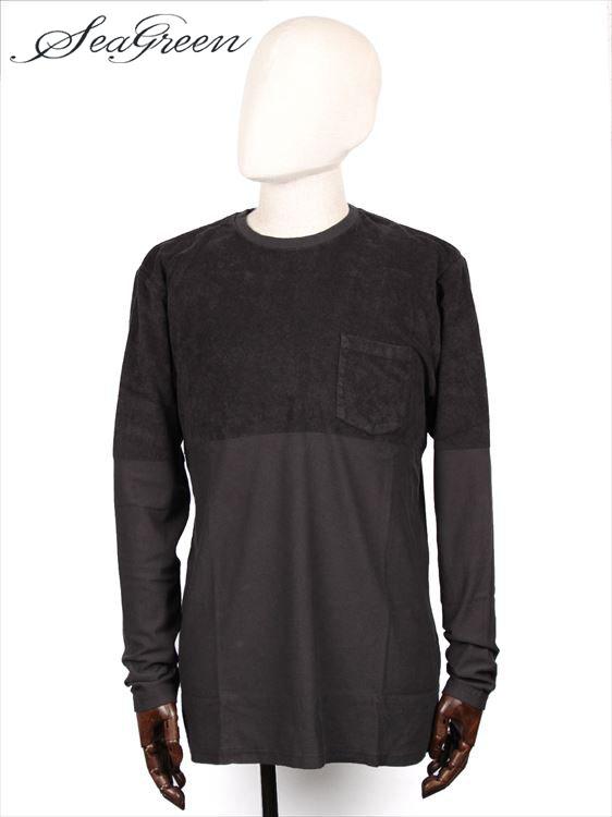 【国内正規品】 Seagreen シーグリーン パイル 切り替え カットソー Tシャツ 長袖 クルーネック MSG19A8073 チャコールグレー