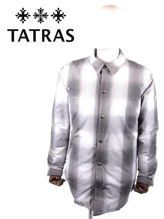 【国内正規品】TATRAS タトラス DURB シャツ風 ダウンコート チェック柄 スナップボタン 裏地キルティング MTA20A4621 BLACK ブラック