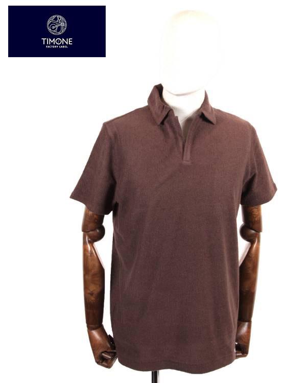 【国内正規品】 TIMONE ティモーネ パイル スキッパー ポロシャツ 半袖 TM2907413 BROWN ブラウン