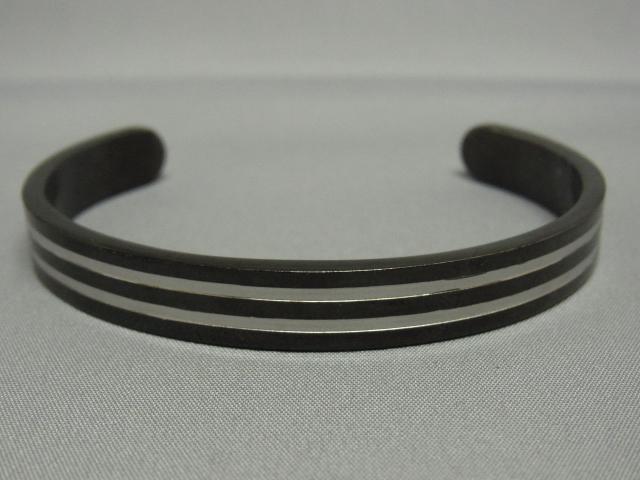 メンズ ステンレス ブラック ストライプ バングル