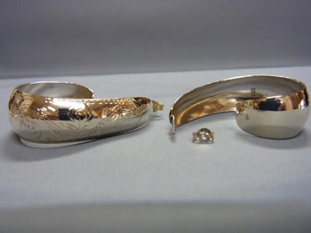銀子針脚葉設計卷曲銘牌無環耳環SILVER925