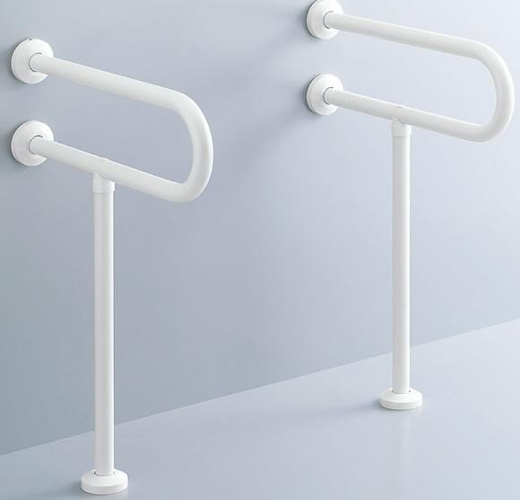INAX LIXIL・リクシル 各種施設用固定式手すり【KF-312AE55】 600mm 洗面器用手すり(壁床固定式) 樹脂被覆タイプ[新品]