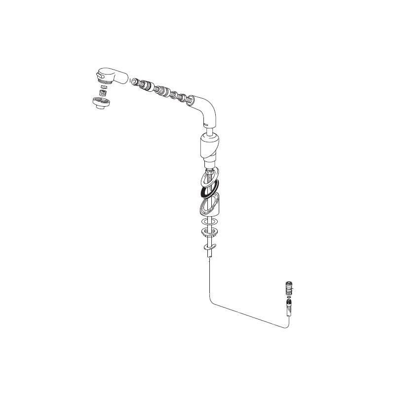 KVK 旧MYM洗髪シャワー部(45°傾斜)【HC501DW-V525】[新品]