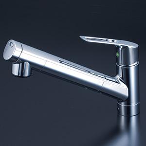 KVK 【KM6001JEC】 浄水器内蔵シングルレバー式シャワー付混合栓(eレバー) キッチン用水栓 > 台付1穴浄水器付 [新品]【NP後払いOK】