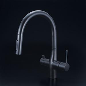 KVK 【KM6081SCECM5】 浄水器付グースネックシングルレバー式混合栓(eレバー) キッチン用水栓 > 台付1穴浄水器付 [新品]【NP後払いOK】