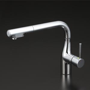 KVK 流し台用シングルレバー式シャワー付混合栓(L型)Eレバー【KM6101EC】[新品]