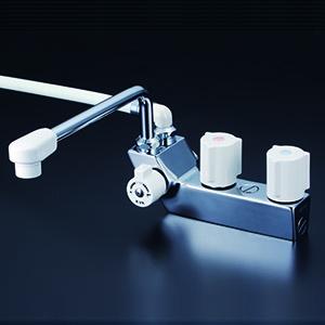 ☆KVK 浴室用水栓【KF207N】☆ KVK デッキ型一時止水付2ハンドルシャワー(左側シャワー)240mmパイプ付 【KF207N】[新品]