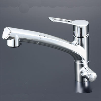 KVK 浄水器付シングルレバー式シャワー付混合水栓(シャワー引出式) 【KM5061NSC】[新品]