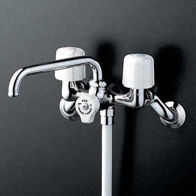 KVK 一時止水付2ハンドルシャワー 固定こま 【KF104W】[新品]【NP後払いOK】