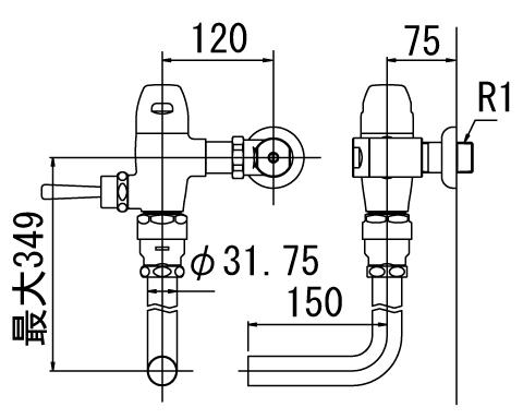 INAX トイレ フラッシュバルブ【CF-50U】 一般地用 洗浄水量10-15L便器用 上水用 【CF50U】 INAX・イナックス・LIXIL・リクシル[新品]