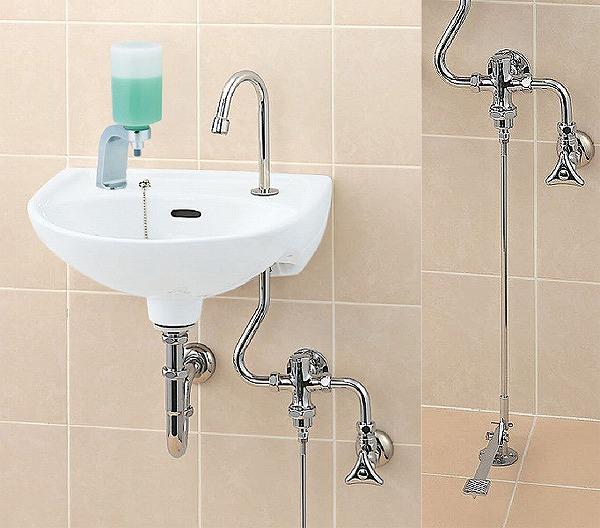 INAX LIXIL リクシル 医療施設用流し 足踏式手洗水栓【L-15G+LF-43+LF-10PA】ハイパーキラミック 壁給水・壁排水(Pトラップ)[新品]