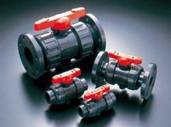旭有機材工業 ボールバルブ21型 接続:フランジ形 ボディ材質:U-PVC Oリング材質:FKM 【型式:21型-40-U-PVC/FKM(フランジ 10K) 01600555】[新品]