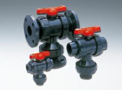 旭有機材工業 三方ボールバルブ23型 接続:ねじ込形 Oリング材質:EPDM 【型式:23型-40-U-PVC/EPDM(ねじ込) 01600624】[新品]