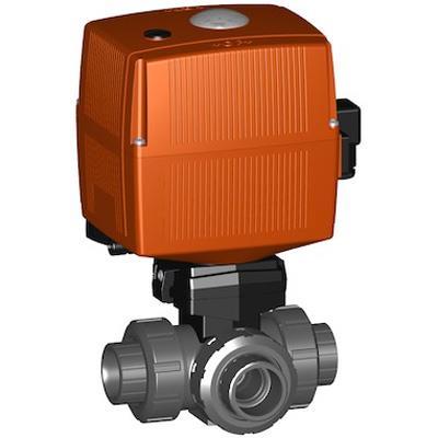 ジョージフィッシャー 185型 電動式三方ボールバルブ水平L(AC100-230V)手動クランク付 ソケット式 <199 185> 【型式:199 185 858 01602907】[新品]