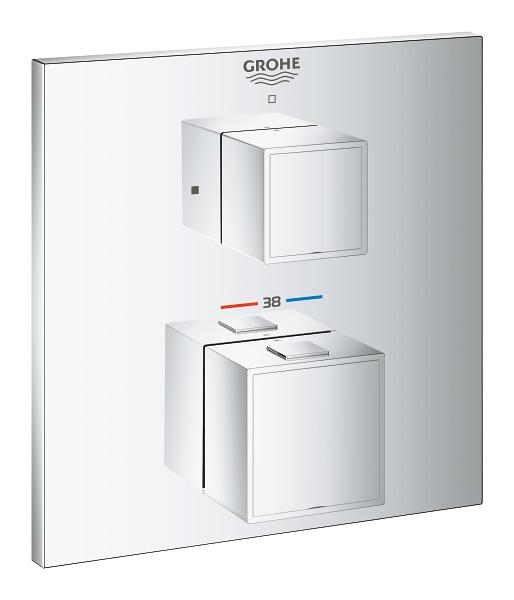 【直送商品】GROHE[グローエ] 浴室用水栓 【24 153 00J】 グローサーモキューブ サーモスタットシャワー埋込混合栓 化粧部 [新品]【NP後払い不可】