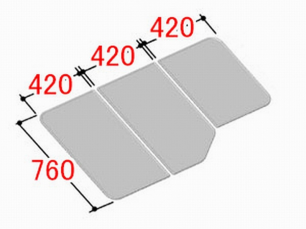 INAX/イナックス/LIXIL/リクシル 水まわり部品 組フタ[YFK-1380C(2)] フタ寸法:A:760MM、B:420MM、C590MM 3枚組み 浴室 【YFK-1380C-2】[新品]