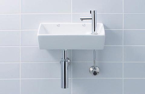 INAX・LIXIL 角形手洗器(壁付式)セットプラン 手洗器【L-35】 立水栓【LF-48】 その他 壁給水・壁排水(ボトルトラップ) [新品]