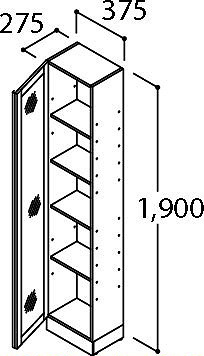 INAX・LIXIL ピアラ 対面収納キャビネット【LCWS-372SA】 間口375mm 棚板ダボ穴あり 洗面化粧台 【メーカー直送のみ・代引き不可・NP後払い不可】[新品]