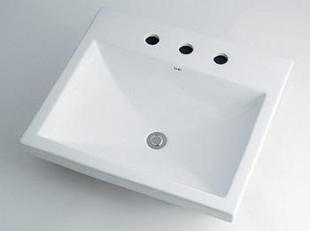 カクダイ 水道材料 角型洗面器【493-092 (3ホール)】[新品]