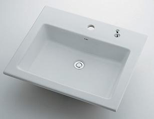 カクダイ 水道材料 角型洗面器【493-008H (1ホール・ポップアップ穴付き)】[新品]