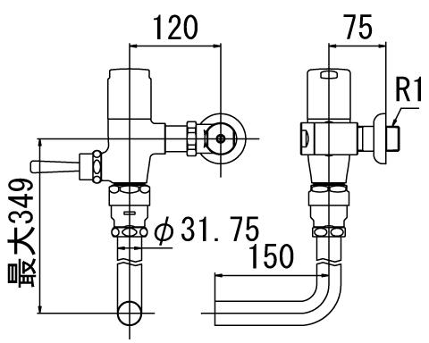 LIXIL リクシル 【CF-60UH-C】 シリーズ名: シリーズ外 品名: 流動式フラッシュバルブ(節水形)(中水用)[新品]