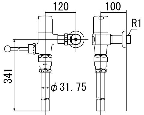 LIXIL リクシル 【CF-T6110E-C】 シリーズ名: シリーズ外 品名: 一般用フラッシュバルブ(節水形)(中水用)[新品]
