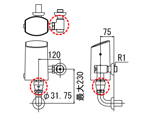 LIXIL リクシル 【OKC-T610K-C】 シリーズ名: オートフラッシュC 品名: オートフラッシュC セパレート形 自動フラッシュバルブ(壁給水形)(中水用)[新品]