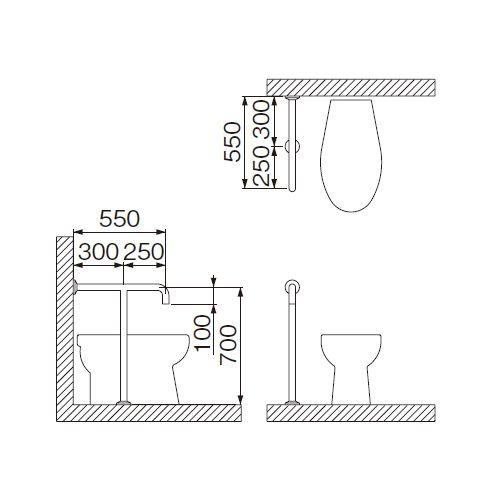 ミヤコ MIYAKO MB111S-1洋風トイレ手摺【MB111S-1】寸法 32・34・38共通 トイレ配管部材【メーカー直送のみ・代引き不可・NP後払い不可】[新品]