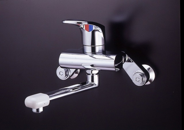 ミズタニバルブ キッチン用水栓 壁付シングルレバー水栓 メッキレバー・DXパイプ・ベンリークランク【MK300DX】 【メーカー直送のみ・代引き不可・NP後払い不可】[新品]