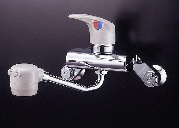 ミズタニバルブ キッチン用水栓 壁付シングルレバー水栓(固定シャワー) グレーレバー・ベンリークランク【MK300JBK】 【メーカー直送のみ・代引き不可・NP後払い不可】[新品]
