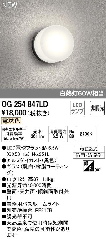 オーデリック 住宅用照明 インテリア 洋 バスルームライト【OG 254 847LD】OG254847LD[新品]