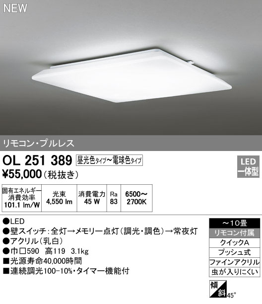 オーデリック インテリアライト シーリングライト 【OL 251 389】OL251389[新品]