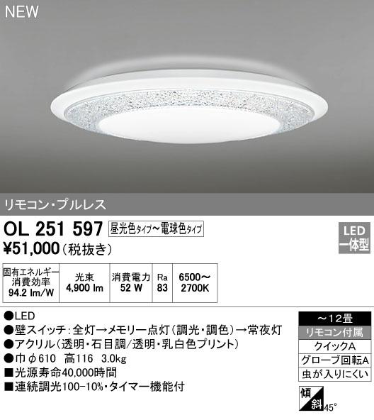 オーデリック インテリアライト シーリングライト 【OL 251 597】OL251597[新品]