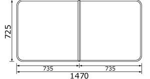 パナソニック 風呂フタ(長辺1470ミリ×短辺725ミリ:組みフタ:長方形:2枚:切り欠きなし) 【RL91057SC】 [納期2~4週間] [新品]