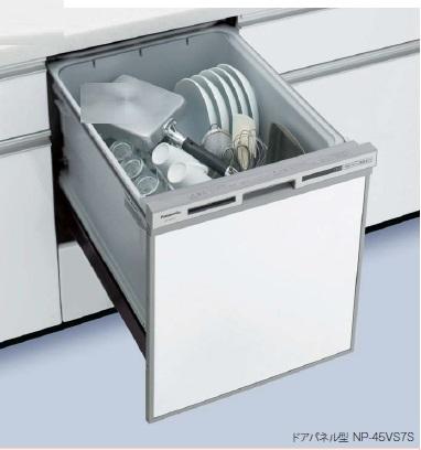 パナソニック ビルトイン食器洗い乾燥機【NP-45VS7S】 幅45cm V6シリーズ 容量:約5人分 ドアパネル型 カラー:シルバー 食洗機 送料無料(NP-45VS6Sの後継機種)[新品]