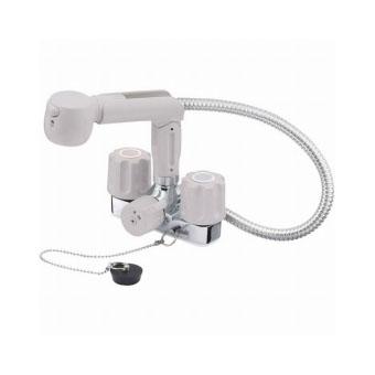 三栄水栓[SANEI]【K3104KR-LH-13】ツーバルブスプレー混合栓(洗髪用)[新品]