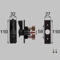 LIXIL リクシル トステム クレセント(左用)[PG障子用] 【商品コード:FNMZ187 内容物:本体(FNMZ187)×1、取付ネジセット×1、台座×1 ブロンズ 】[新品]