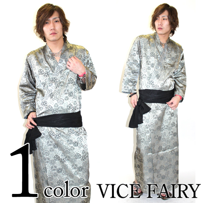 VICE FAIRY(ヴァイスフェアリー)11'浴衣5点セット★浴衣11'つや家紋×ペイズリー◆あす楽対応◆九州