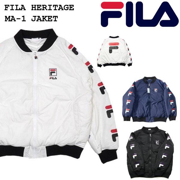 FILA フィラ FILA HERITAGE(ヘリテージ)MA-1 ボンバージャケット 中綿 バックビッグロゴ FM9508 メンズ レディース 2018秋冬 ジャケット ホワイト ブラック ネービー M/L/XL