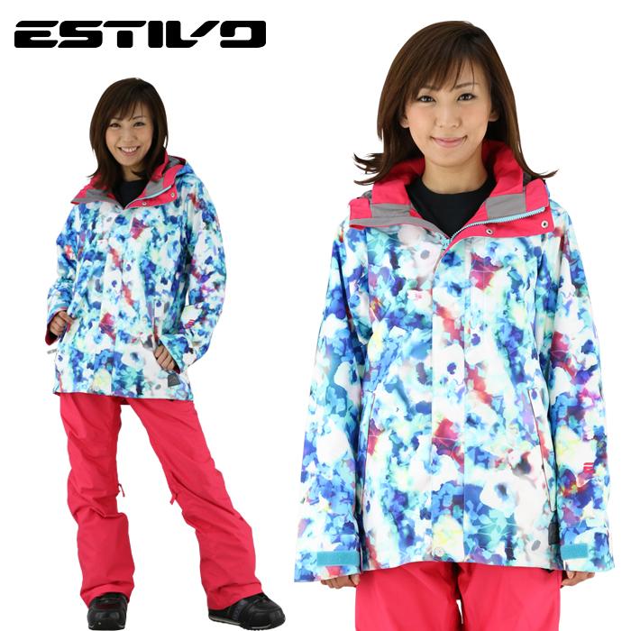 エスティボ スノージャケット 防水 ウェア スノボ レディース 暖かい ブルームジャケット マリブ 青 ブルー