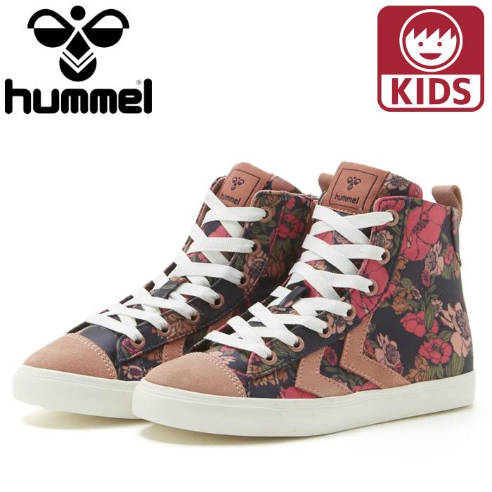 hummel HM204721 子ども用シューズ ジュニアサイズ ハイカット キッズシューズ 女の子 ジュニアシューズ ユース 子供靴 ヒュンメル キッズ スニーカー ハイカット hummel STRADA FLOWERS JR ピンク HM204721-7381 花柄