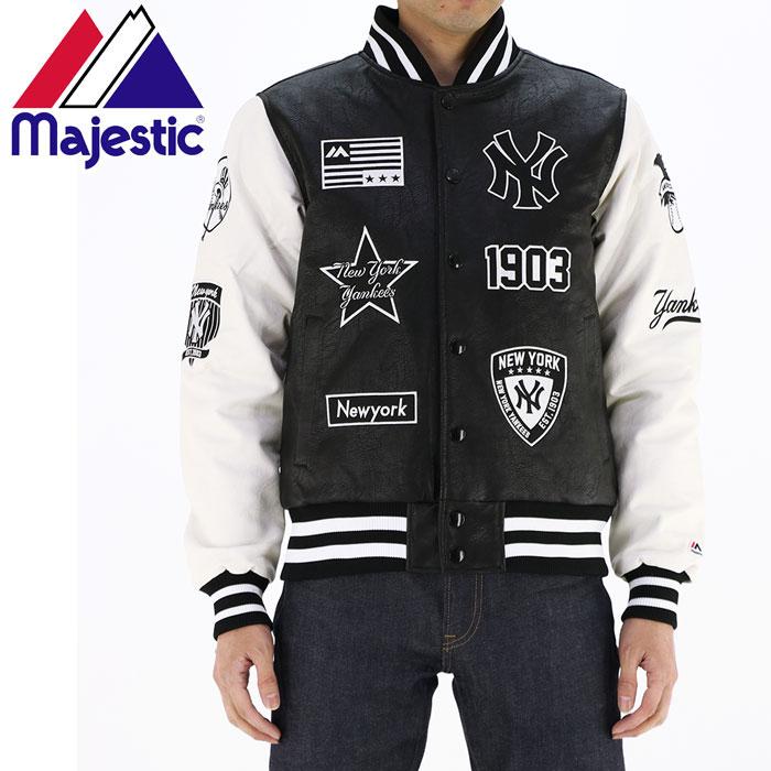 MAJESTIC ジャケット マジェスティック スタジャン ヤンキース MM23NY8F12 合成皮革 ジャケット ストリートファッション トレンドアイテム ブラック ニューヨークヤンキース メンズジャケット 通販 販売 即納 人気 流行 男性