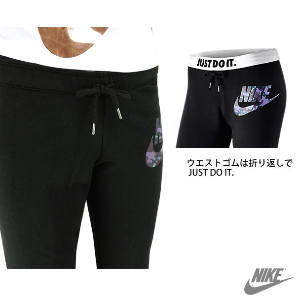 耐克耐克女裝汗水褲子黑色大徽標迷彩圖案板油與模式纖細耐克 678855