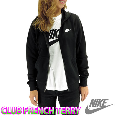 Nike Womens sweet Parker Club French Terry full zip parka Hoodie NIKE 807795